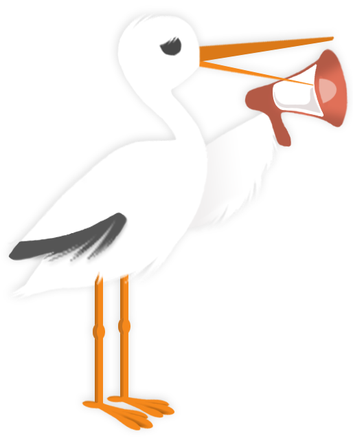 stork with megaphone